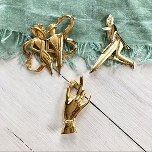 Jewelry - Trio of Golden Art Deco Pins Brooches